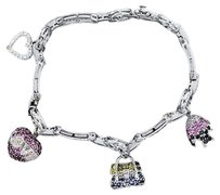 $$$ 14k White Gold Diamond And Sapphire Charm Bracelet