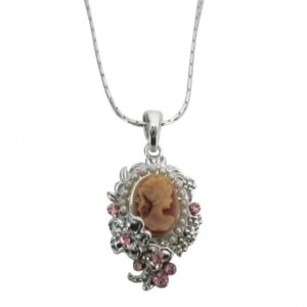 Pink Lady Cameo Victorian Pendant Silver Flower Jewlery Cameo Necklace