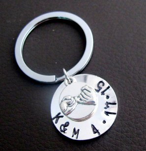 Pinky Promise, Personalized Pinky Promise Key Chain, Handstamped
