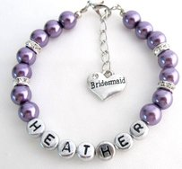 Personalized Bridesmaid Purple Pearl Bracelet Flower Girl Personalize