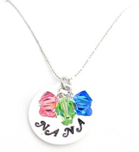 Nana Birthstone Necklace Hand Stamped Personalized Nana Necklace Gift