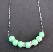 Mint Green Pearl Necklace Mint Green Necklace Weedding Floating 7 Pear