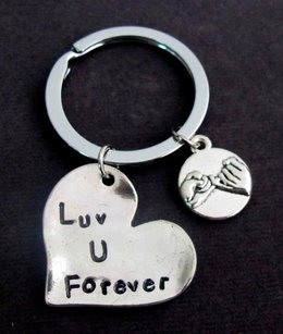 Love You Forever Keychain With Pinky Promise Couples Keychain Couple