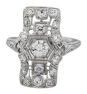 Antique,Art,Deco,Platinum,1.00ctw,Diamond,Cocktail,Ring,4.2,Grams,Size,6.5