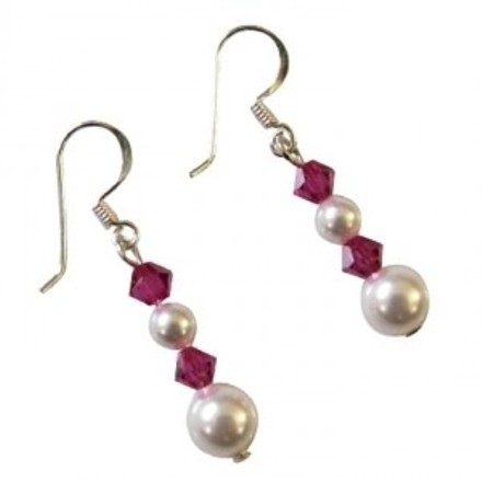 Customize Bridemaids Gift Swarovski White Pearls Ruby Crystal Earrings