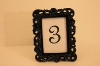 10 Ten Vintage Style Black Frames Table Number Photo Frame