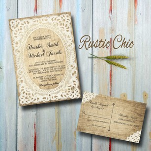 100 Custom Rustic Vintage Wedding Invitations Set