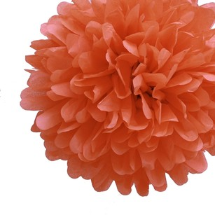 12 Poppy Orange Rust Tissue Pom Poms Flower Kissing Balls Pomanders 14
