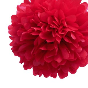 12 Red Tissue Pom Poms Flower Kissing Balls Pomanders 14