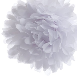 12 White Tissue Pom Poms Flower Kissing Balls Pomanders 14