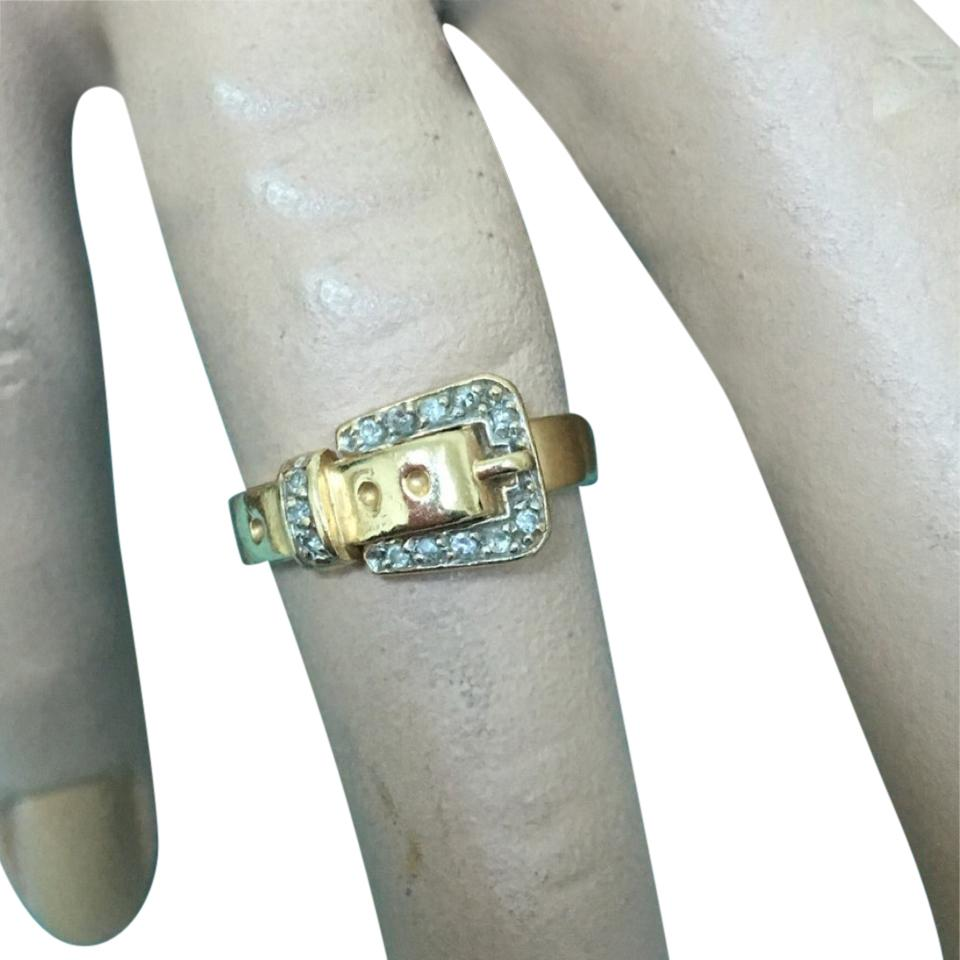 14k yellow gold with diamonds  buckle ring