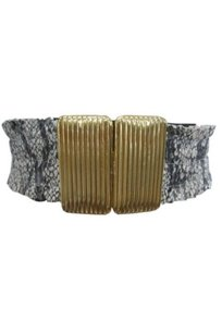 213 by Michelle Kim 213 By Michelle Kim Womens Python Print Gold Buckle Belt