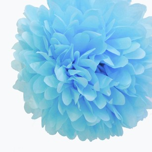 24 Baby Blue Tissue Pom Poms Flower Kissing Balls Pomanders 14