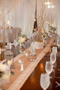 24 Burlap And Lace Handmade Table Runners
