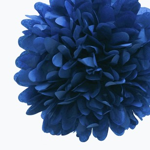24 Navy Blue Tissue Pom Poms Flower Kissing Balls Pomanders 14