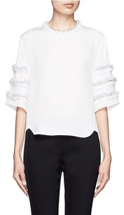 3.1 Phillip Lim Ivory Bead Fringe Embellished Silk Fringe Short Sleeve 2s Top White