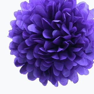 36 Royal Purple Tissue Pom Pom Flower Balls Kissing Balls Pomanders 14