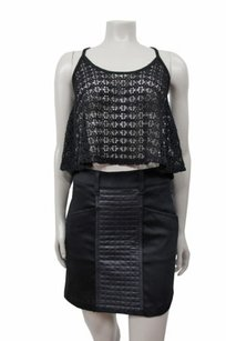 7 For All Mankind Quilted Leather Panel Skirt Black