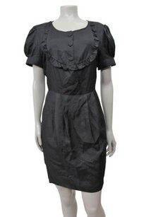 7 For All Mankind Seven Ruffle Trim Bib Silk Dress