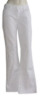 7 For All Mankind White Cotton Blend Denim Xlnt Boot Cut Jeans