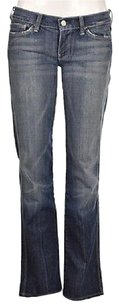 7 For All Mankind Womens Blue Wash 27 Cotton Pants Distressed Boot Cut Jeans