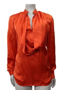 7 For All Mankind Orange Silk Draped Satin Top Tangerine