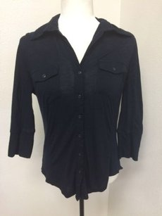 89th & Madison Button Up Ribbed Sides Top Black