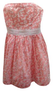 abercrombie kids short dress Coral Pink, Size Large Strapless White Print on Tradesy