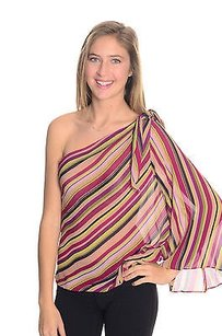 A.B.S. by Allen Schwartz B Pink Green Striped Top Multi-Color