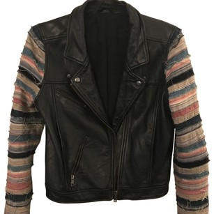 Acne Studios black and multi Leather Jacket