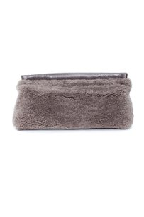 Acne Studios Oxide Shearling Fur Leather Teddy Fuzzy Gray Clutch