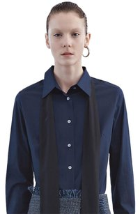 Acne Studios Corbel Pop Navy Cotton Poplin Button Neck Tie Shirt 234 Top Blue