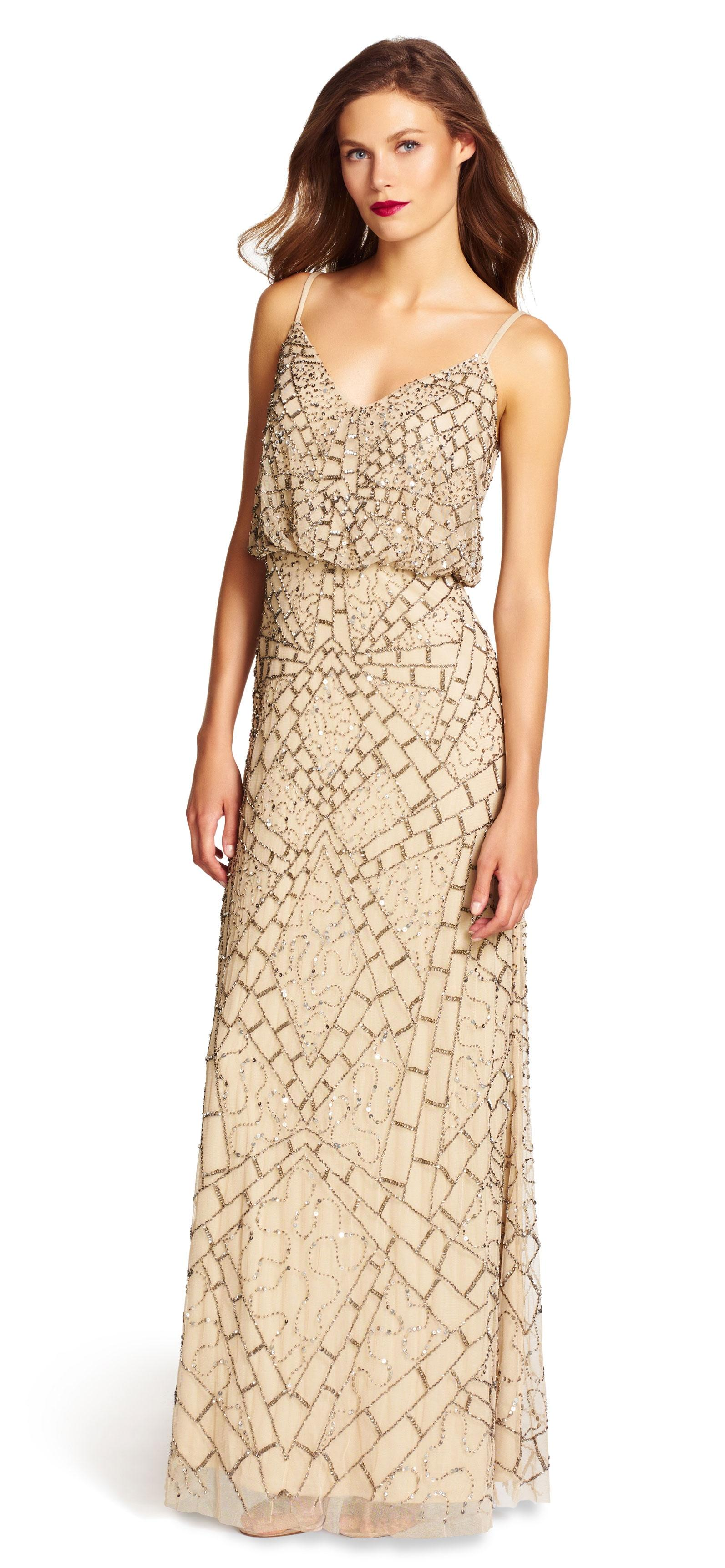 Adrianna Papell Nude Sleeveless Beaded Blouson Gown Dress 25 Off