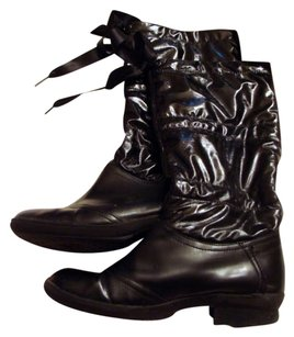 Aerosoles Decade Rain Satin Bow Closure Black Boots