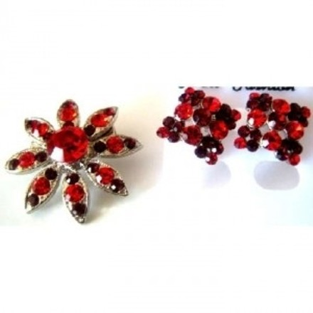 Silver Red Affordable Holiday Gift Christmas Gift Siam Earrings Combo Brooch/Pin