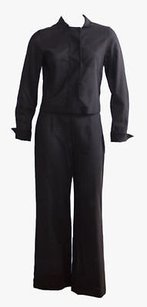 Akris Akris Black 100 Wool Lightweight Semi-sheer Blazer Jacket Pant Suit Hs2931