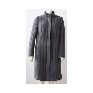 Akris Silk Blend Stand Leather Button Placket Hs709 Coat