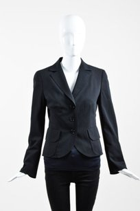 Akris Punto Akris Punto Black Wool Button Up Long Sleeve Blazer Jacket