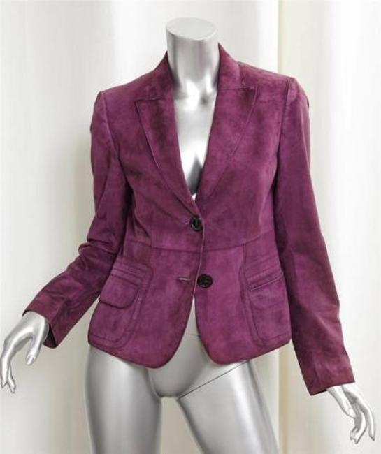 cheap Akris Punto Womens Dark Red Suede Leather Long-sleeve Blazer Jacket Coat 386