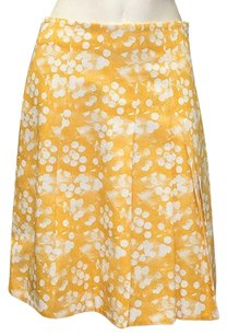 Akris Punto Yellow 100 Knee Length Pleated Wtw Hs1452 Skirt Multi-Color
