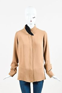 Akris Camel Black Silk Top Brown