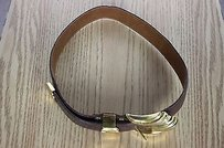 Al Beres Al Beres Womens Brown Textured Belt Gold Buckle Leather