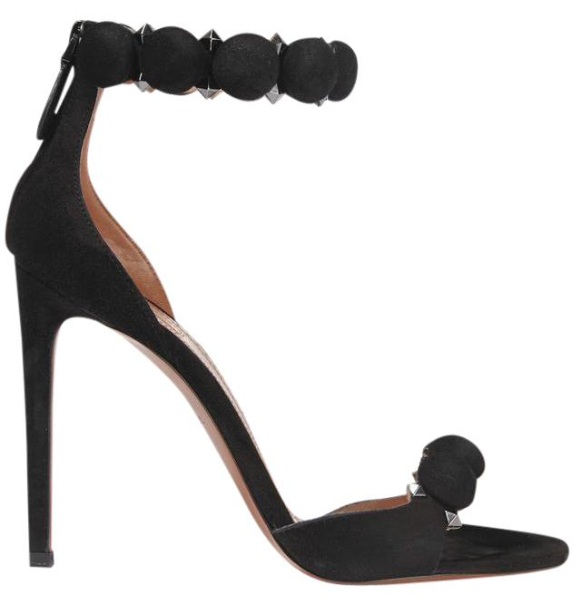 ALAÏA Black New Studded Suede 4.5 Inches/110mm Sandals Size US 7 Regular (M, B)