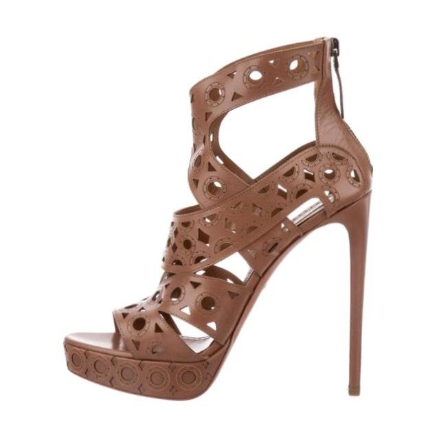 ALAÏA Brown Laser Cut Platform Sandals Size US 8 Regular (M, B)