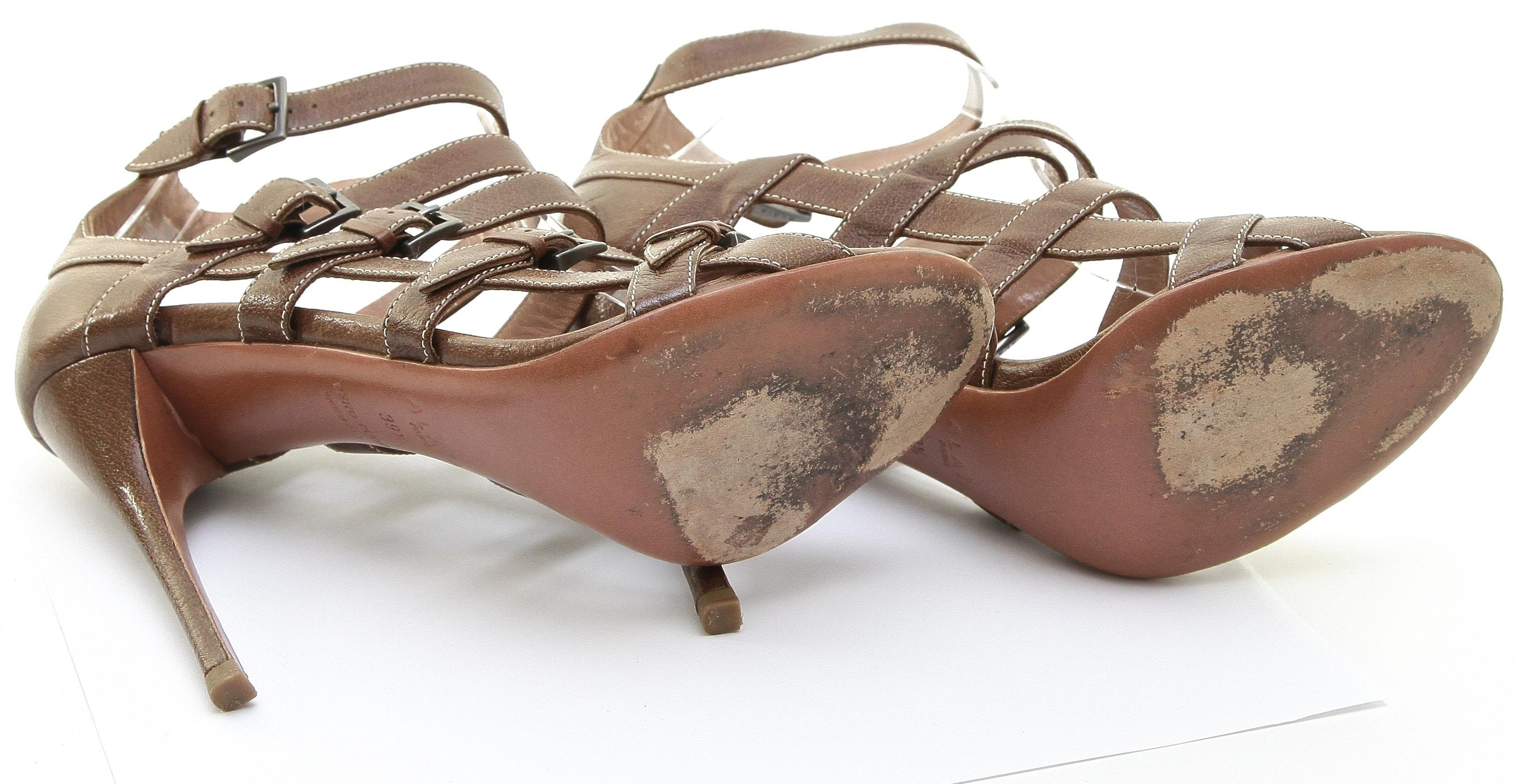 fb2b467e3f ... ALAÏA Brown Brown Brown Leather Gladiator Heel Open Toe White Strap  39.5 Sandals Size US 9.5