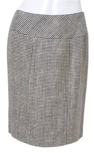 Alan Austin Houndstooth Silk Wool Vintage Mini Skirt Black and White