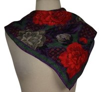 Albert Nipon Albert Nipon Womens Purple Red Floral Scarf One Silk