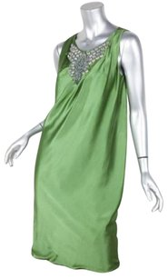 Alberta Ferretti short dress Green Womens Silk Satin Beaded Sleeveless Shift 6f on Tradesy