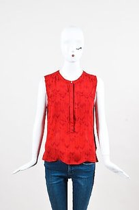 A.L.C. Silk Printed Sl Tunic Top Red