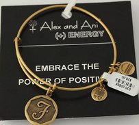 Alex and Ani Alex And Ani Energy Bangle Wrap Charm Bracelet - Script Letter Initial F